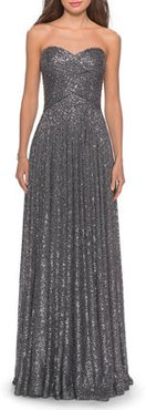 Sequin Strapless Sweetheart Column Gown