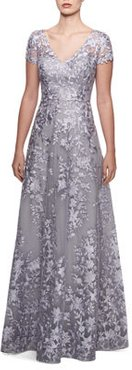 Embroidered Lace V-Neck Cap-Sleeve A-Line Gown