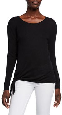 Super Fine Silk/Cashmere Crewneck Side-Tie Long-Sleeve Sweater