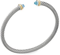 4mm Cable Bracelet with 18K Gold & Semiprecious Stone