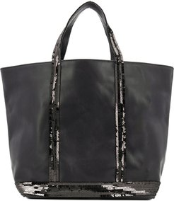 sequined tote bag - Black