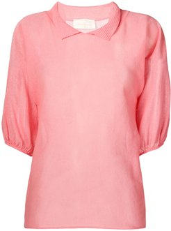 short sleeved knitted top - PINK