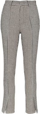 houndstooth print trousers - Black
