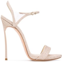 glitter embellished high heel sandals - NEUTRALS