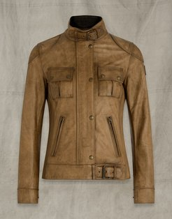 GANGSTER WAXED LEATHER JACKET Brown US 2 /
