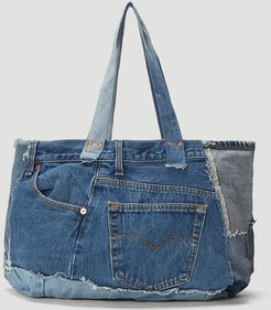 The Patchwork Tote in Blue size One Size