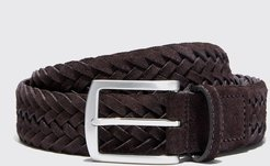 Belts Italian Shoe Scarosso male Cintura Marrone Intrecciata Scamosciata Brown suede Suede Leather 105