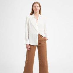Relaxed Silk Shirt by Everlane in White, Size 2