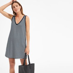 Cotton Double V Dress by Everlane in Navy / White Stripe, Size L