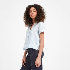Linen Notch Short-Sleeve Shirt by Everlane in Blue / White, Size 6
