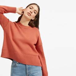 Soft Cotton Square Crew Sweater by Everlane in Spanish Clay, Size L