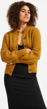 Cropped Alpaca Cardigan by Everlane in Mustard, Size XL