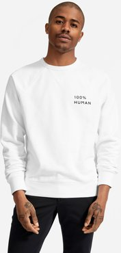 100% Human Unisex French Terry Sweatshirt in Small Print by Everlane in White, Size XXS