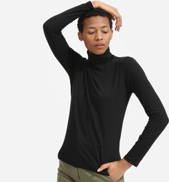 Cotton Turtleneck Tee Sweater by Everlane in Black, Size M