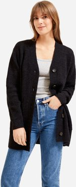 Oversized Alpaca Cardigan by Everlane in Heather Black, Size S