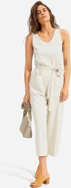 Luxe Cotton Jumpsuit by Everlane in Sandstone, Size S