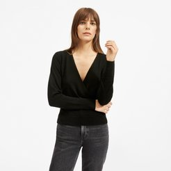 Cashmere Wrap Sweater by Everlane in Black, Size XL