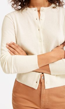 Cashmere Crew Cardigan by Everlane in Off White, Size L