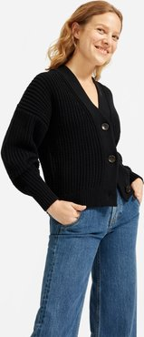 Texture Cotton Crop Cardigan by Everlane in Washed Black, Size M