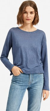 Linen Relaxed Long-Sleeve T-Shirt by Everlane in Blue Indigo, Size XL