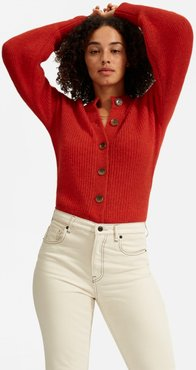 Cropped Alpaca Cardigan by Everlane in Red, Size S