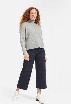 Cashmere Square Turtleneck Sweater by Everlane in Heather Grey, Size M