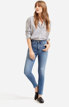 Authentic Stretch High-Rise Skinny by Everlane in Distressed Mid Blue, Size 28