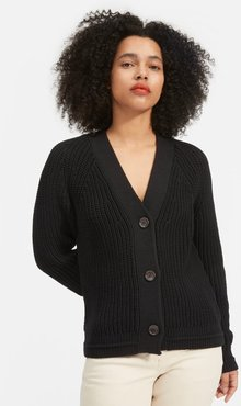 Texture Cotton Cardigan by Everlane in Black, Size XL