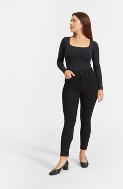 Curvy Authentic Stretch High-Rise Skinny Jean by Everlane in Black, Size 23