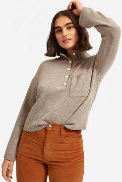 ReCashmere Button Mockneck Sweater by Everlane in Heathered Sand, Size XXS
