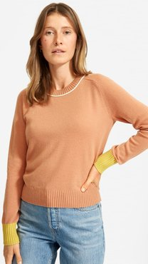 ReCashmere Vintage Crew Sweater by Everlane in Faded Sienna Colorblock, Size XL