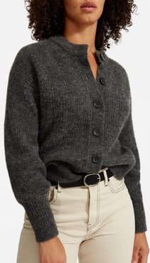 Cropped Alpaca Cardigan by Everlane in Dark Charcoal, Size XL