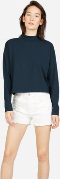 Square Mockneck Tee Sweater by Everlane in Navy, Size S