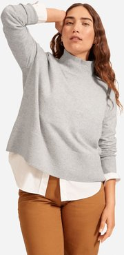 Cashmere Square Turtleneck Sweater by Everlane in Light Heather Grey, Size L