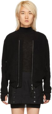 Black Wool and Cashmere Bomber Jacket