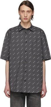 Black and White Check All Over Logo Normal Fit Shirt