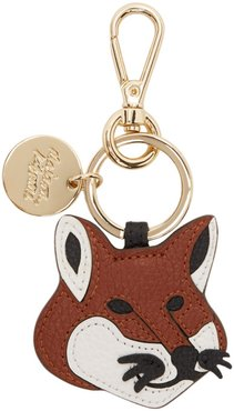Brown Leather Fox Head Keychain