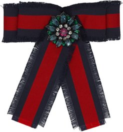 Navy and Red Striped Ribbon Brooch