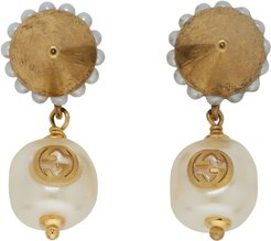 Gold Interlocking G Pearl Earrings