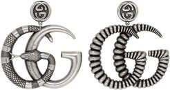 Silver and Black GG Marmont Earrings