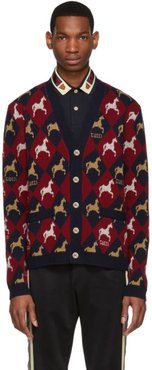 Red and Navy Jacquard Equestrian Cardigan