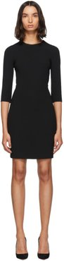 Black Three-Quarter Sleeve Mini Dress