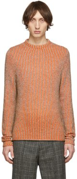 Brown and Orange Striped High Neck Sweater