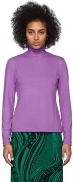 Purple Cotton Pullover Turtleneck