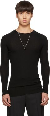 Black Ribbed Round Neck Sweater