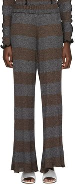 Brown and Silver Lurex Flare Lounge Pants