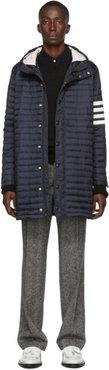 Navy Down 4-Bar Quilted Hooded Coat