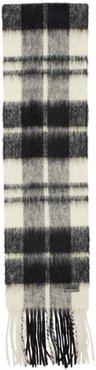 White and Black Plaid Small Scarf
