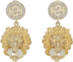 Gold Crystal Lion Earrings