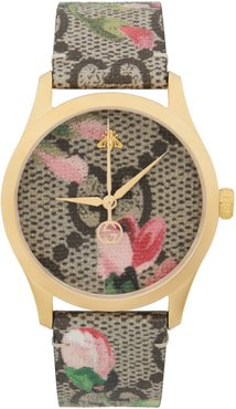 Gold and Multicolor Floral GG G-Timeless Watch